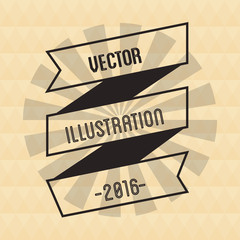 Ribbon and striped circle icon. vintage and retro theme. Colorful design. Vector illustration