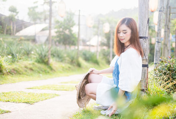 Portrait Asian women In Garden  background