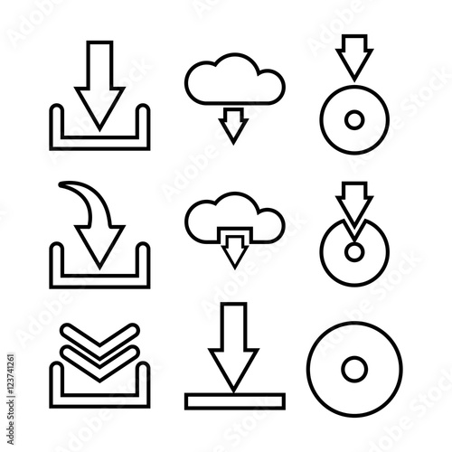 Set of vector download icons  Suitable for web sites, mobile