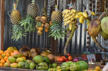 TRopical Fruit and vegetables on sale in zanzibar