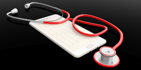 Stethoscope on a smartphone. 3d illustration