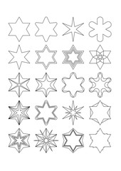 Star shape simply design elements set. Collection of 20 star elements useful for christmas design.Black outline drawing.