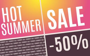 Hot Summer sale promotion poster. Vector illustration.