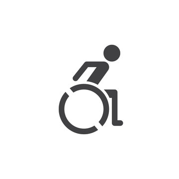 Wheelchair icon vector, handicap solid logo illustration, pictogram isolated on white
