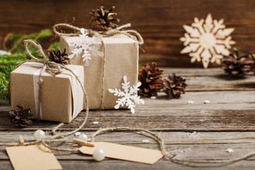 Christmas gifts on wooden background