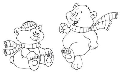 Zwei süße Bären mit Winterbekleidung