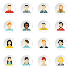 People icons set. Flat illustration of 16 people vector icons for web
