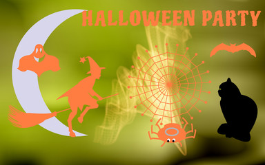 Vector illustration of the characters to have a Halloween party
