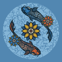 Two Chinese koi carp and lotus flowers. Symbol of harmony and love. Background in the Chinese style. Hand drawn.
