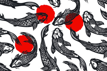 Seamless pattern with koi carp fish, spots. Pond. Background in the Chinese style. Hand drawn.