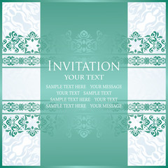 Vintage invitation. Luxury design. Background in pastel colors. Decoration in blue colors. Can be used as certificate