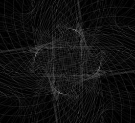 Random intersecting lines, geometric monochrome art. Random chao