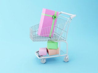 3d Shopping cart with gift boxes.