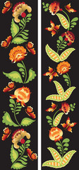 The flowers and butterflies. Ornament on a black background in the folk traditions. Petrikovka.