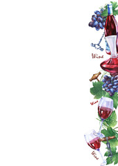Template with bunch of fresh grapes, corkscrews, decanter, bottle and glasses of red wine. Hand drawn watercolor painting on white background.
