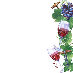 Template with bunch of fresh grapes, corkscrews and glasses of red wine. Hand drawn watercolor painting on white background.