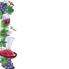 Template with bunch of fresh grapes, corkscrews, decanter and glasses of red wine. Hand drawn watercolor painting on white background.
