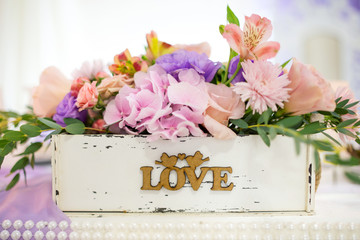 organization of the wedding celebration, decoration and Romance
