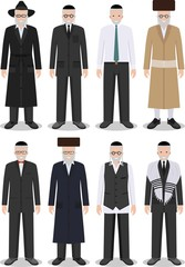 Set of different standing jewish old men in the traditional clothing isolated on white background in flat style. Differences Israelis in the national dress. Vector illustration.