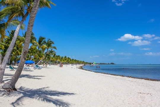 The spectacular beach with fine white sand of Smathers Beach, Key West, Florida. Smathers Beach is Key West's longest beach and is located on the Atlantic Ocean side.
