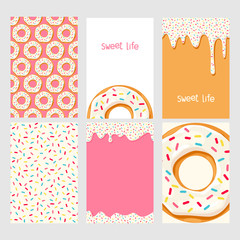 Set of bright food cards. Set of donuts with white glaze. Donut seamless pattern.