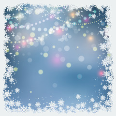 Christmas and New Year blue blurred vector background with snowflakes