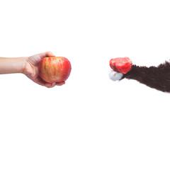 Go vegan! Concept of veganism. Vegan diet. Human hand with apple