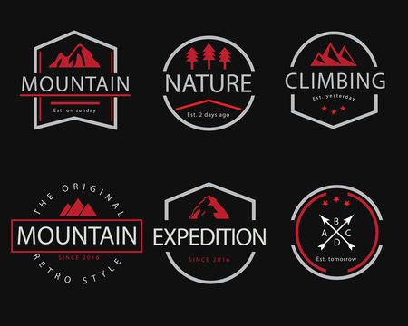 mountain retro badge illustration