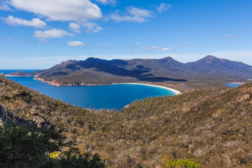 The famous Wineglass Bay in Freycinet National Park. Tasmania, Australia