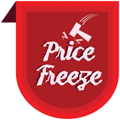 Price Freeze announcement message in vector label illustration.