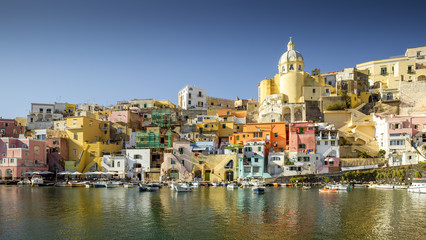 Colorful houses in Corricella village on Procida island, Italy