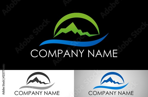 quot mountain wave logo vectorquot stock image and royaltyfree