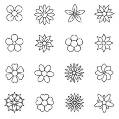 Flower, line icons set. The flowers of different shapes, symbols collection