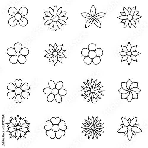 "Types Of Flower Arrangement Shapes: ""Flower, Line Icons Set. The Flowers Of Different Shapes"