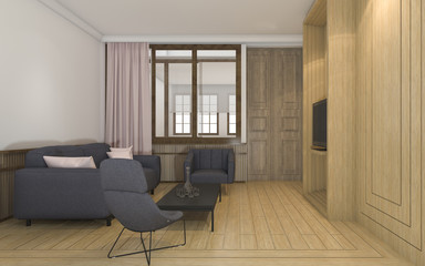 3d rendering classic living room with warm light