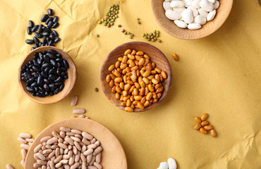 Various of beans on paper