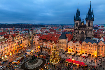 Old Town Square and Christmas market in Prague.