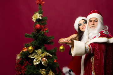 Santa and girl dance