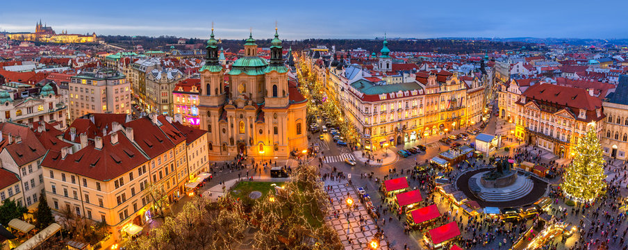 Panorama of Old Town of Prague at Christmas time.