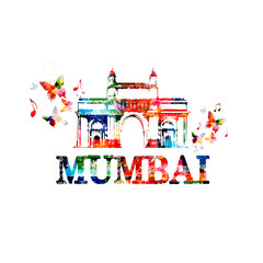 Gateway of India, Mumbai landmark design for poster, brochure, banner. Mumbai architecture template vector illustration, travel background. Colorful India famous city monuments, Mumbai skyline symbol