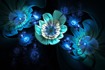 Abstract 3d flowers on black background. Computer-generated fractal in white and blue colors.