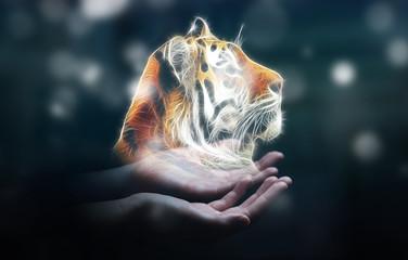 Person holding fractal endangered tinger illustration 3D renderi