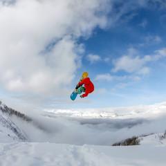 Snowboarder in mountain