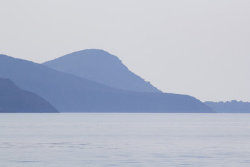 Landscape with water and land in the background - Aegean sea, Greece