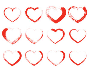Set of red drawing hearts. Vector illustration.