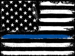 Thin Blue Line. Black Flag with Police Blue Line.