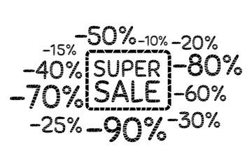 Super sale. Discount price off and sales design template. Shopping and low price symbols. 10,20,30,40,50,60,70,80,90 percent sale. Vector illustration.