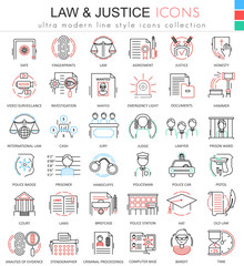 Vector Law and justice ultra modern color outline line icons for apps and web design.