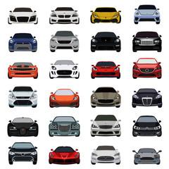 super car flat icons set