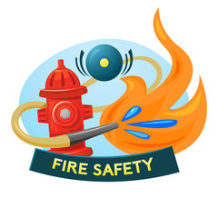 Fire safety concept design, vector illustration